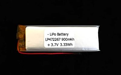 3.7 V 900mAh Lipo Battery LP472267- Ultra Thin Battery