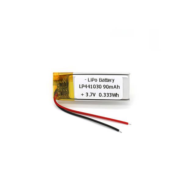 3.7 V LP441030 Ultra Thin Lithium Polymer Battery 90mAh