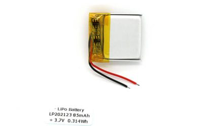 3.7V LP202123 85mAh Small Lipo Battery Best Manufacture from China